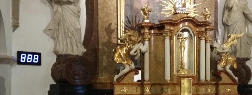 Číselník v kostele sv. Maří Magdaleny